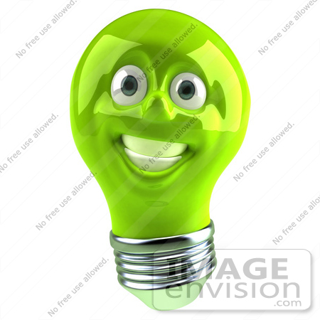 #46751 Royalty-Free (RF) Illustration Of A Green 3d Electric Light Bulb Head Mascot Smiling - Version 1 by Julos