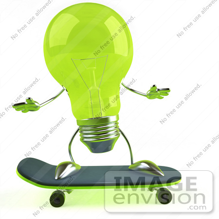 #46758 Royalty-Free (RF) Illustration Of A Green 3d Glass Light Bulb Mascot Skateboarding - Version 1 by Julos