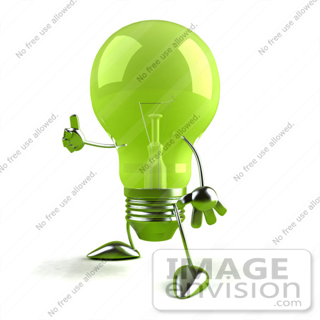 #46762 Royalty-Free (RF) Illustration Of A Green 3d Glass Light Bulb Mascot Giving The Thumbs Up - Version 2 by Julos