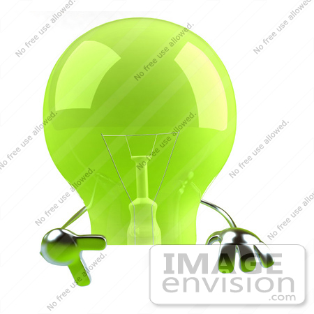 #46763 Royalty-Free (RF) Illustration Of A Green 3d Glass Light Bulb Mascot Giving The Peace Gesture And Holding A Blank Sign by Julos