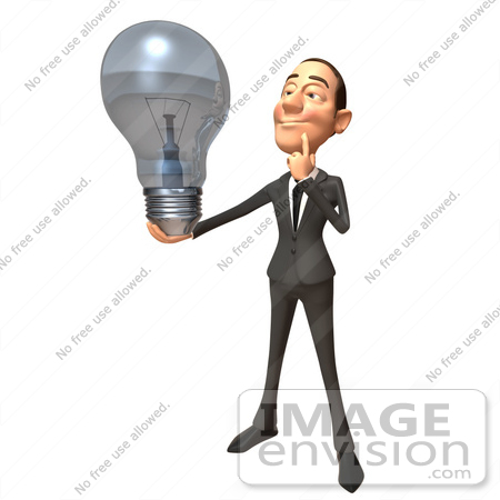 #46793 Royalty-Free (RF) Illustration Of A 3d White Corporate Businessman Mascot Holding A Light Bulb - Version 3 by Julos