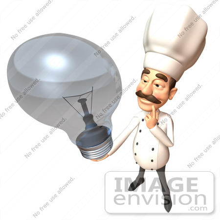 #46809 Royalty-Free (RF) Illustration Of A 3d Chef Henry Mascot Holding A Light Bulb - Version 1 by Julos