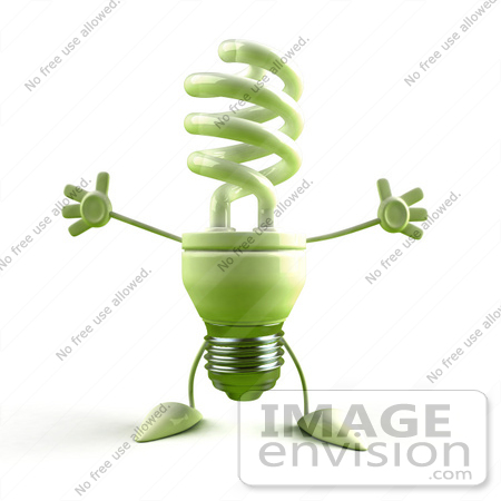 #46824 Royalty-Free (RF) Illustration Of A Green 3d Spiral Light Bulb Mascot Holding His Arms Open - Version 3 by Julos