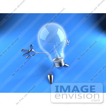 #46827 Royalty-Free (RF) Illustration Of A 3d Glass Light Bulb Mascot Holding His Arms Out - Version 6 by Julos