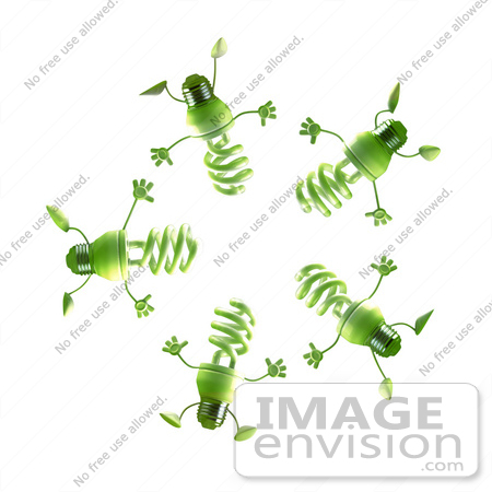 #46828 Royalty-Free (RF) Illustration Of A Group Of Green 3d Spiral Light Bulb Mascots In A Circle by Julos