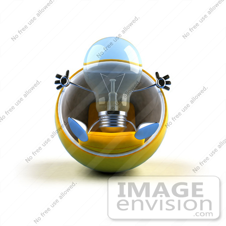 #46832 Royalty-Free (RF) Illustration Of A Blue 3d Glass Light Bulb Mascot Sitting In A Cocoon Chair - Version 1 by Julos