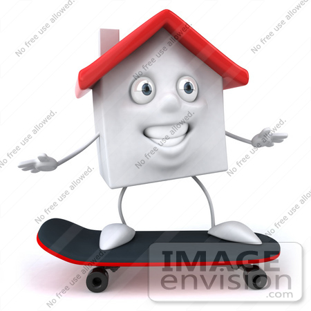 #46872 Royalty-Free (RF) Illustration Of A 3d White Clay House Mascot Skateboarding - Version 1 by Julos