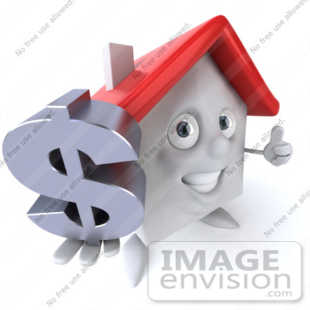 #46876 Royalty-Free (RF) Illustration Of A 3d White Clay House Mascot Holding A Dollar Symbol - Version 3 by Julos