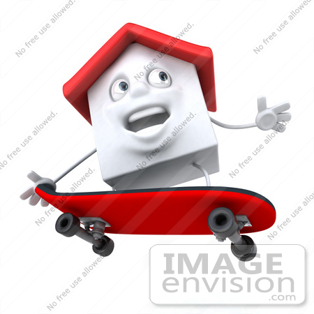 #46879 Royalty-Free (RF) Illustration Of A 3d White Clay House Mascot Skateboarding - Version 2 by Julos
