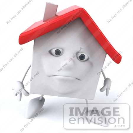 #46882 Royalty-Free (RF) Illustration Of A Sad 3d White Clay House Mascot Walking Forward by Julos