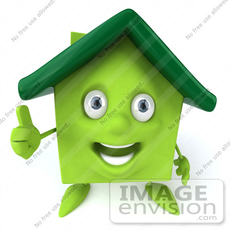 #46891 Royalty-Free (RF) Illustration Of A 3d Green Clay House Mascot Giving The Thumbs Up by Julos
