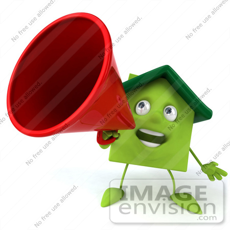 #46892 Royalty-Free (RF) Illustration Of A 3d Green Clay House Mascot Using A Megaphone - Version 1 by Julos