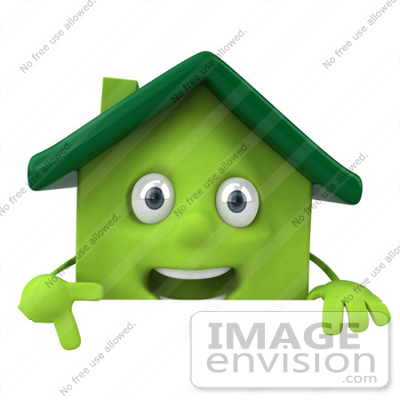 #46894 Royalty-Free (RF) Illustration Of A 3d Green Clay House Mascot Pointing Down And Standing Behind A Blank Sign by Julos