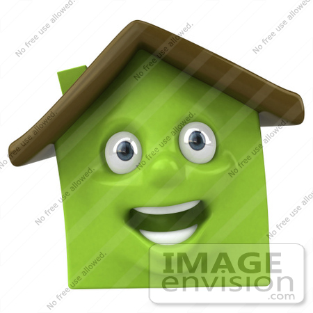 #46896 Royalty-Free (RF) Illustration Of A 3d Green Clay House Mascot Smiling - Version 3 by Julos