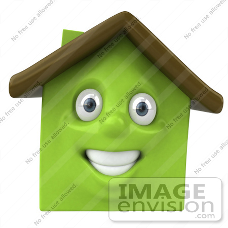 #46898 Royalty-Free (RF) Illustration Of A 3d Green Clay House Mascot Smiling - Version 1 by Julos