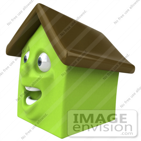 #46900 Royalty-Free (RF) Illustration Of A 3d Green Clay House Mascot Smiling - Version 4 by Julos