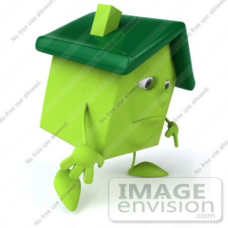 #46902 Royalty-Free (RF) Illustration Of A 3d Green Clay House Mascot Slouching by Julos