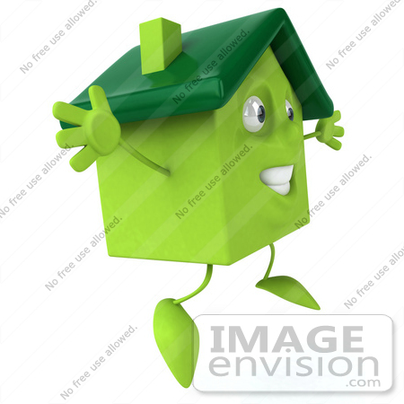 #46905 Royalty-Free (RF) Illustration Of A 3d Green Clay House Mascot Jumping - Version 2 by Julos