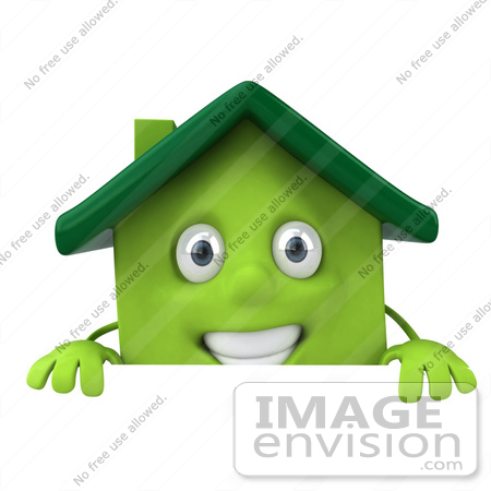 #46906 Royalty-Free (RF) Illustration Of A 3d Green Clay House Mascot Standing Behind A Sign Board by Julos