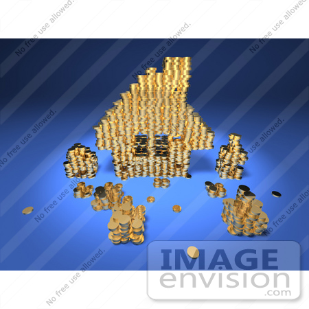 #46917 Royalty-Free (RF) Illustration Of A 3d House Made Of Golden Coin Stacks - Version 3 by Julos