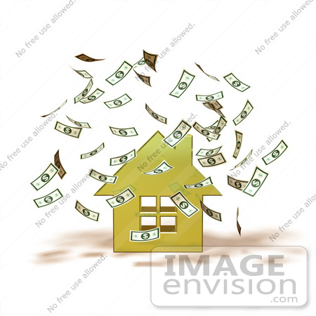 #46966 Royalty-Free (RF) Illustration Of Money Falling Down Around A 3d Yellow House - Version 1 by Julos