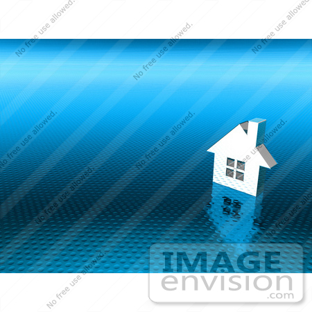 #46975 Royalty-Free (RF) Illustration Of A 3d White House On A Textured Blue Background - Version 2 by Julos