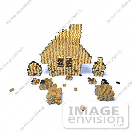 #46987 Royalty-Free (RF) Illustration Of A 3d House Made Of Golden Coin Stacks - Version 7 by Julos