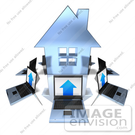#46992 Royalty-Free (RF) Illustration Of 3d Laptops Circling A Blue House by Julos