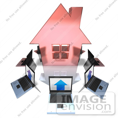 #46993 Royalty-Free (RF) Illustration Of 3d Laptops Circling A Red House by Julos