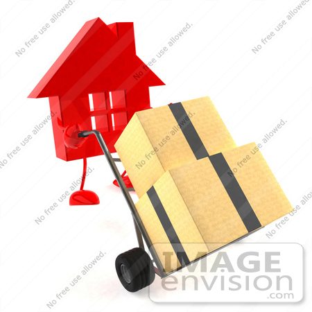 #46997 Royalty-Free (RF) Illustration of a 3d Red House Mascot Pushing Boxes On A Dolly by Julos