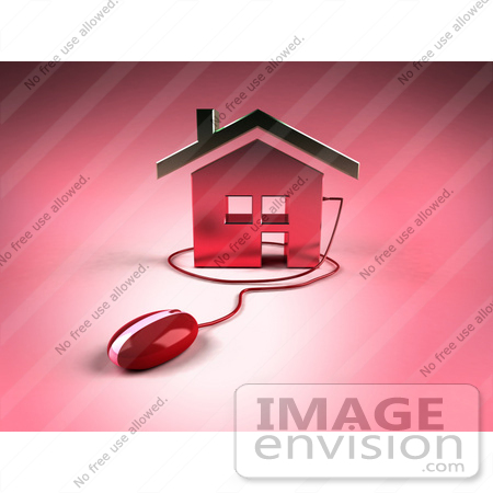 #47002 Royalty-Free (RF) Illustration Of A 3d House Icon With A Computer Mouse - Version 8 by Julos