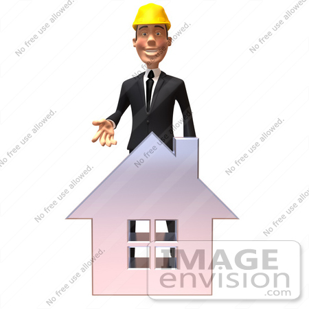 #47004 Royalty-Free (RF) Illustration Of A 3d Contractor Mascot Standing Behind A Chrome House by Julos