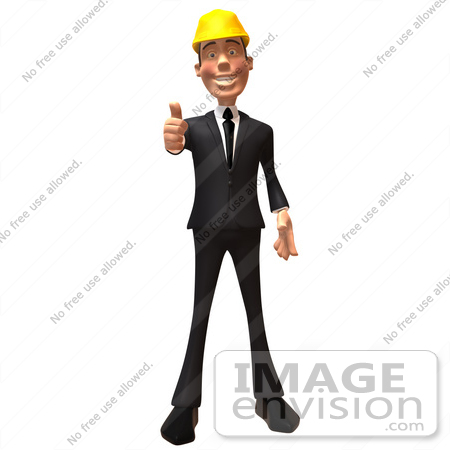#47010 Royalty-Free (RF) Illustration Of A 3d Contractor Mascot Giving The Thumbs Up - Version 1 by Julos