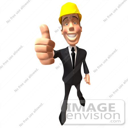 #47011 Royalty-Free (RF) Illustration Of A 3d Contractor Mascot Giving The Thumbs Up - Version 3 by Julos