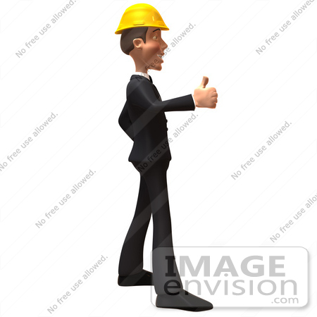 #47012 Royalty-Free (RF) Illustration of a 3d Contractor Mascot Giving The Thumbs Up - Version 2 by Julos