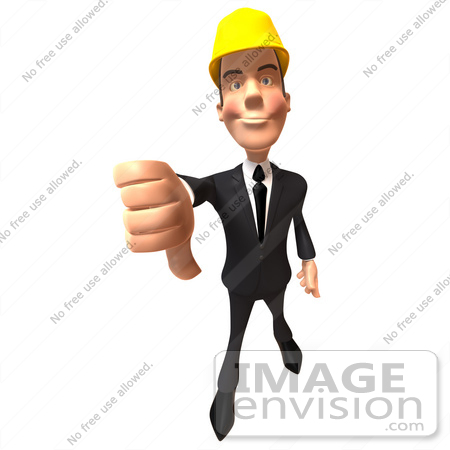 #47015 Royalty-Free (RF) Illustration of a 3d Contractor Mascot Giving The Thumbs Down - Version 2 by Julos