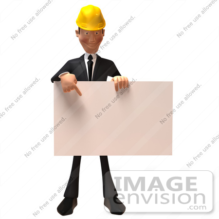 #47016 Royalty-Free (RF) Illustration Of A 3d Contractor Mascot Holding A Blank Sign - Version 2 by Julos