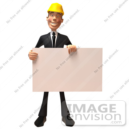 #47017 Royalty-Free (RF) Illustration Of A 3d Contractor Mascot Holding A Blank Sign - Version 1 by Julos