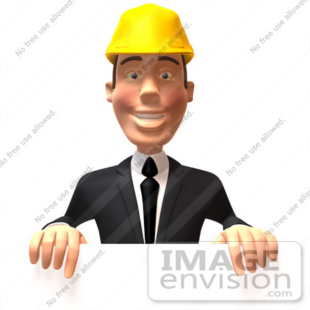 #47020 Royalty-Free (RF) Illustration of a 3d Contractor Mascot Standing Behind A Blank Sign by Julos
