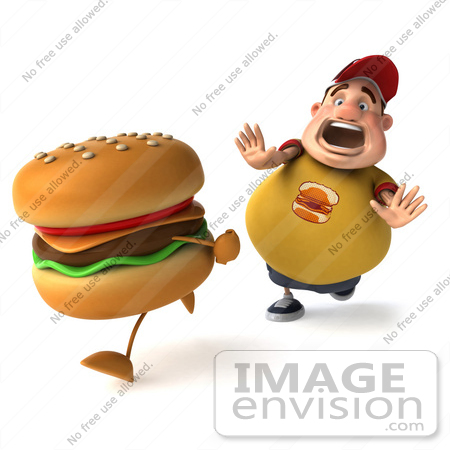 #47021 Royalty-Free (RF) Illustration Of A 3d Fat Burger Boy Mascot Chasing A Cheeseburger - Version 2 by Julos