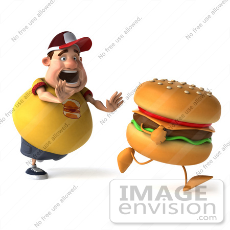 #47023 Royalty-Free (RF) Illustration Of A 3d Fat Burger Boy Mascot Chasing A Cheeseburger - Version 1 by Julos