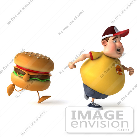 #47024 Royalty-Free (RF) Illustration Of A 3d Fat Burger Boy Mascot Running From A Cheeseburger - Version 1 by Julos