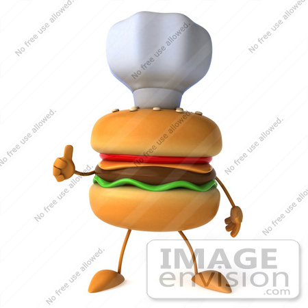 #47026 Royalty-Free (RF) Illustration Of A 3d Cheeseburger Mascot Giving The Thumbs Up And Wearing A Chef Hat by Julos