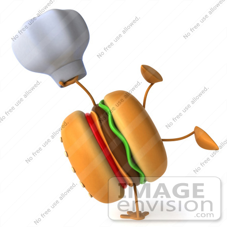 #47027 Royalty-Free (RF) Illustration Of A 3d Cheeseburger Mascot Doing A Hand Stand And Holding A Chef Hat by Julos
