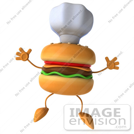 #47028 Royalty-Free (RF) Illustration Of A 3d Cheeseburger Mascot Jumping And Wearing A Chef Hat by Julos