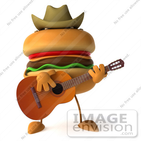 #47031 Royalty-Free (RF) Illustration Of A 3d Cheeseburger Mascot Playing A Guitar And Wearing A Cowboy Hat by Julos