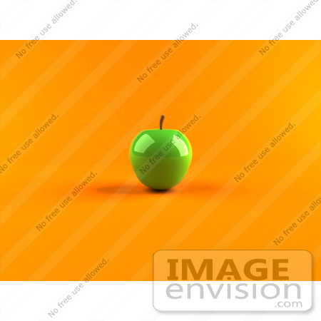#47079 Royalty-Free (RF) Illustration Of A 3d Green Apple With Light Shining Off Of The Skin - Version 2 by Julos