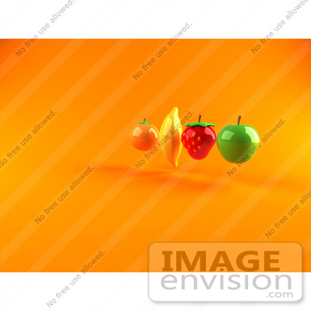 #47084 Royalty-Free (RF) Illustration Of Floating 3d Orange, Banana, Strawberry And Green Apple Fruits - Version 2 by Julos