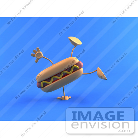 #47087 Royalty-Free (RF) Illustration Of A 3d Hot Dog With Mustard Mascot Doing A Cartwheel - Version 2 by Julos