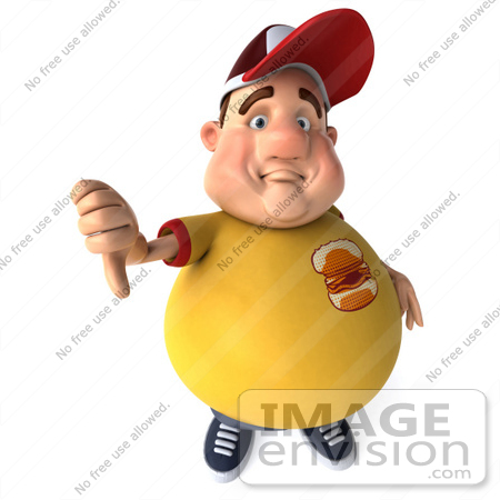 #47096 Royalty-Free (RF) Illustration Of A 3d Fat Burger Boy Mascot Holding His Thumb Down by Julos